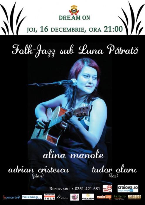 Afis concert Alina Manole - Luna Patrata - Craiova, DreamOn Pub